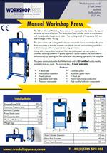 Specification sheet for 15 ton workshoppress from Workshoppress.co.uk